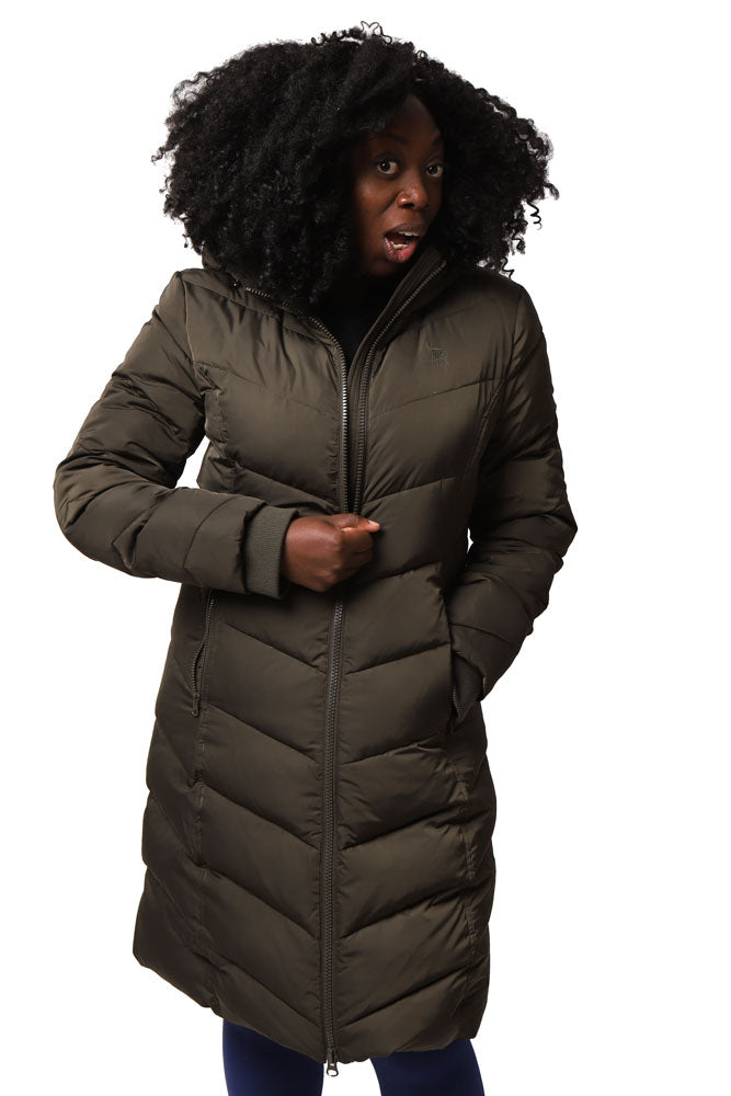 women with afro zips up olive colored puff long coat with hood