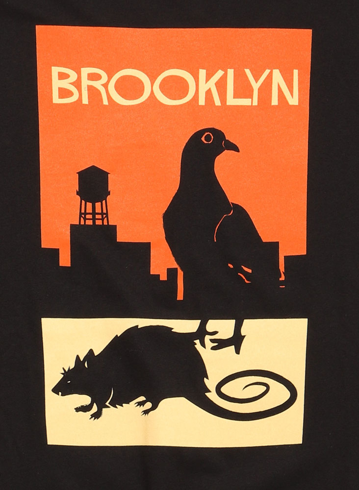 DETAIL OF PIGEON AND RAT. SKYLINE GRAPHIC ON POSTER CREATURES T-SHIRT