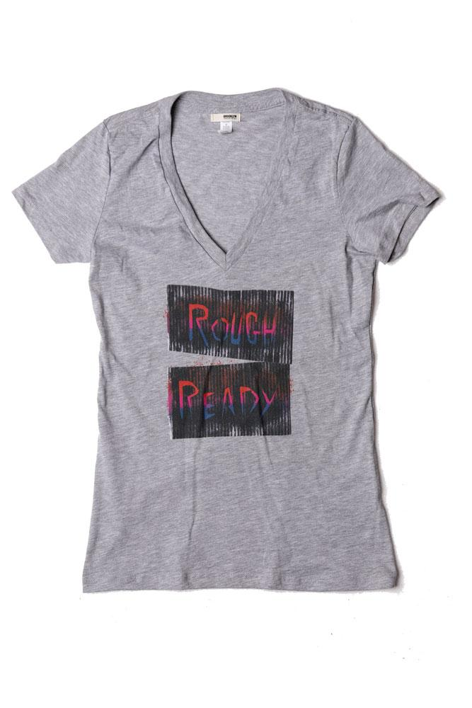 FLAT LAY GREY VNECK WOMEN'S T-SHIRT WITH ROUGH READY TEXT IN SCRATCHY BLACK AND REDS