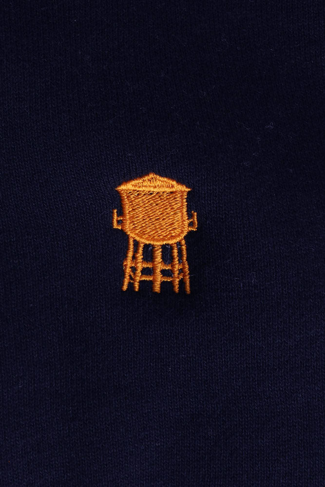 Navy sweatshirt with yellow/orange water tower embroidery