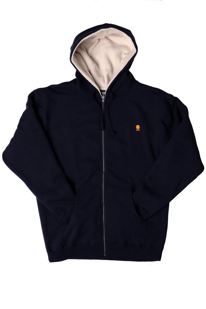 Flat lay of navy sherpa lined men's hooded sweatshirt