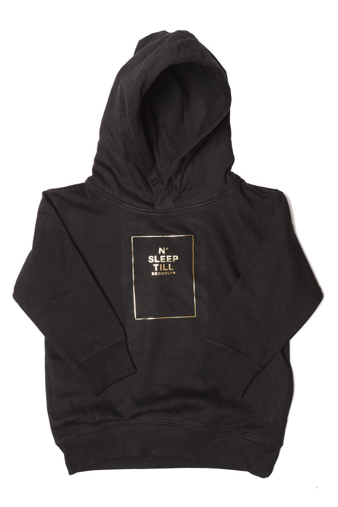 TODDLER SIZED HOODED SWEATSHIRT WITH SLEEP NUMBER GRAPHIC IN GOLD. SWEATSHIRT IS BLACK