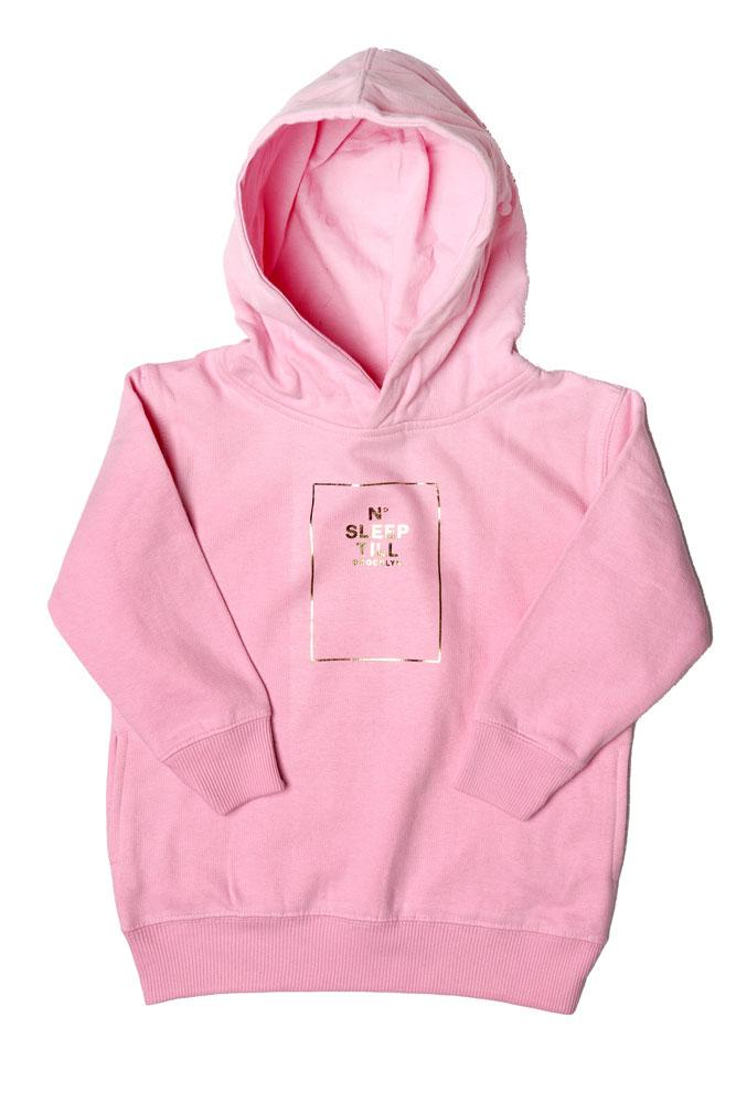 TODDLER SIZED HOODED SWEATSHIRT WITH SLEEP NUMBER GRAPHIC IN GOLD. SWEATSHIRT IS PINK