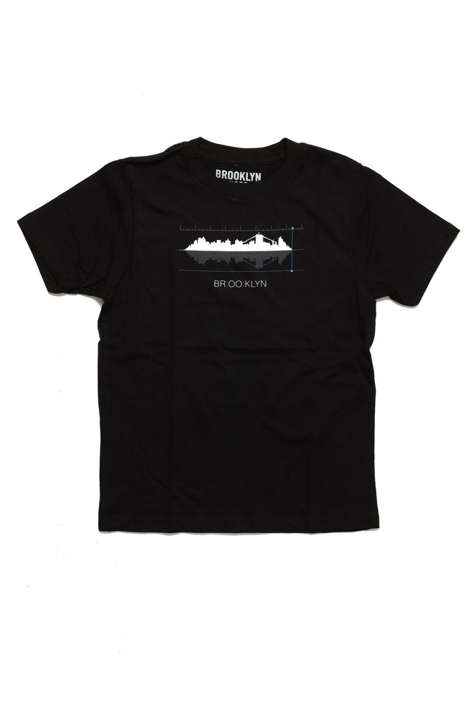 BLACK YOUTH TSHIRT WITH A SKYLINE GRAPHIC WITH SOUND WAVE BARS AROUND IT