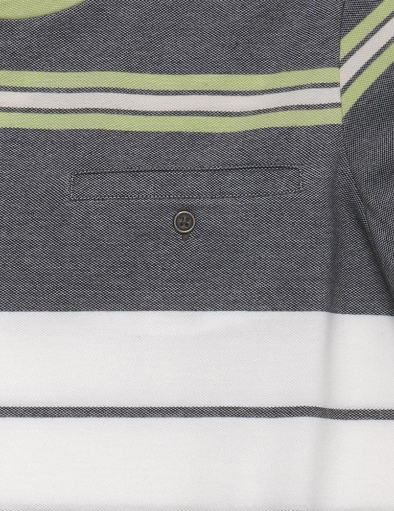 detail of the pocket of men's stripe knit shirt in muted greens and yellow