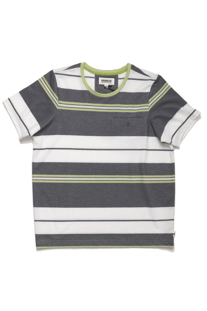 men knit shirt in white grey and green stripe