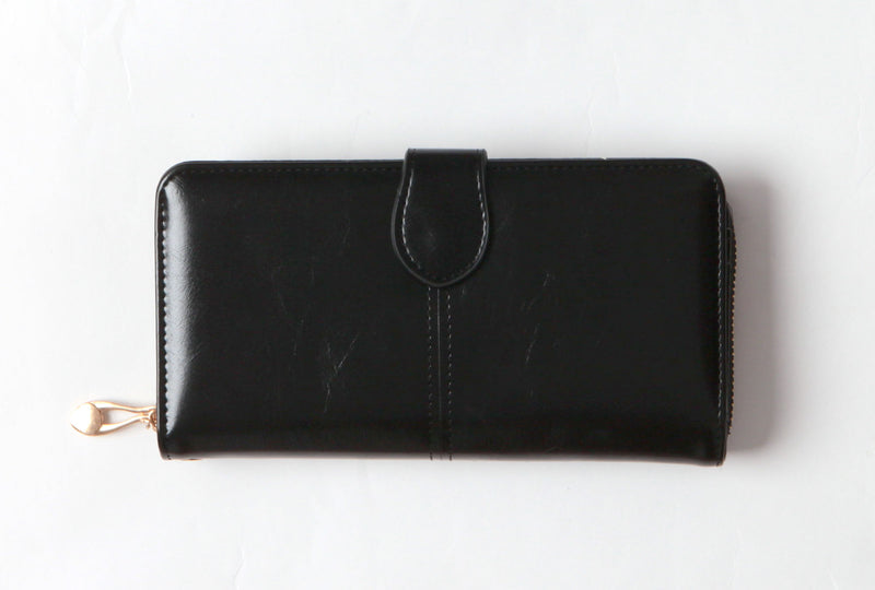 Black Vegan tri-fold wallet
