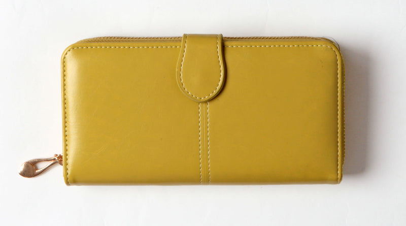 Lemon colored tri-fold wallet