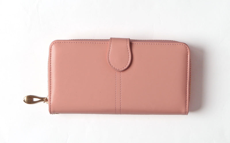 Light Pink Tri-fold vegan wallet