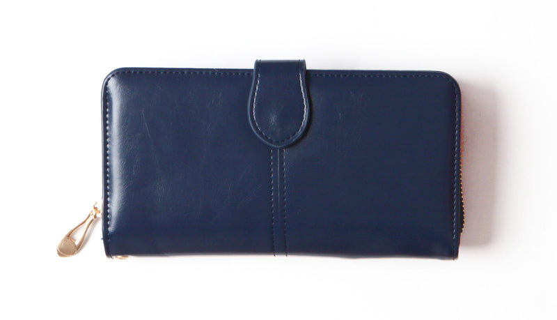 Navy Tri-fold vegan wallet