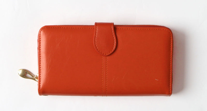 Orange Tri-fold vegan wallet