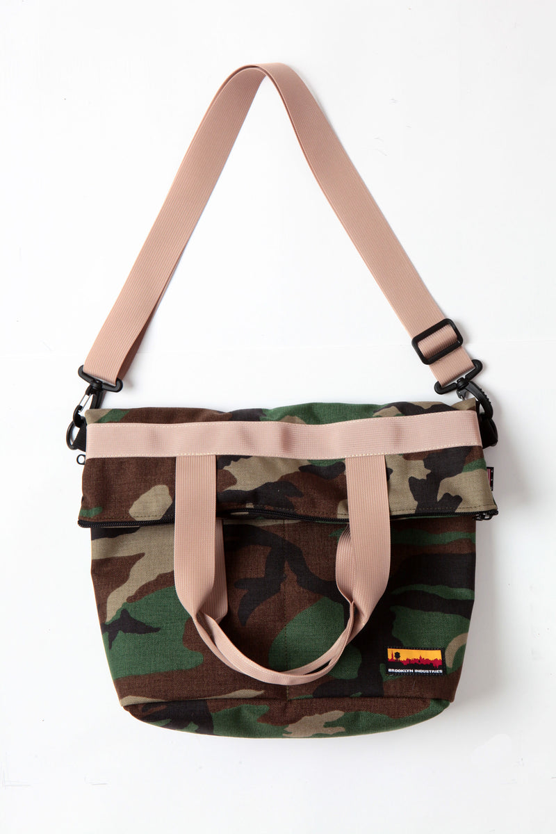 woodland camo canvas messenger bag with khaki webbing top folded down