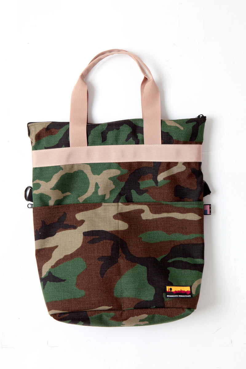 woodland camo canvas messenger bag with khaki webbing at full height with smaller handles