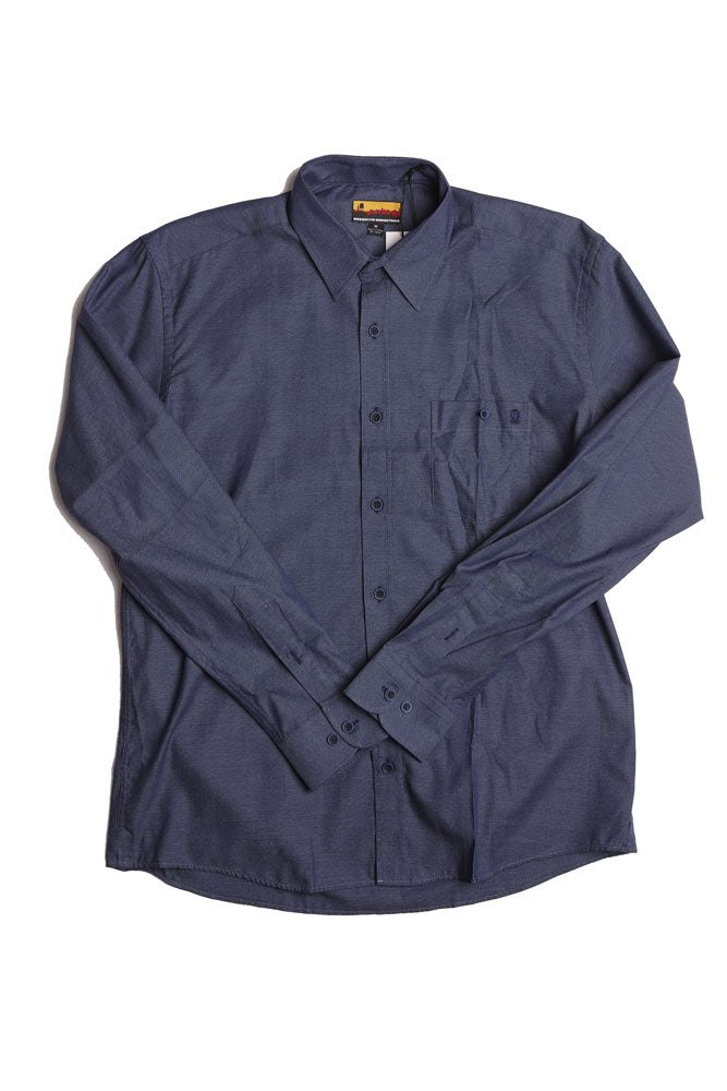 flat lay of blue men's button up woven shirt