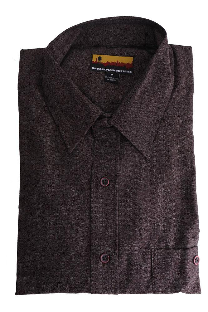 folded men's woven shirt in burgundy