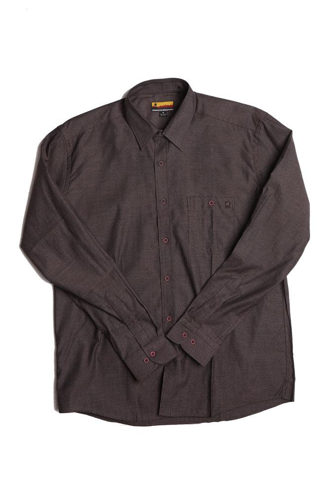 flat lay of long sleeve woven men's shirt in burgundy with red tinted buttons