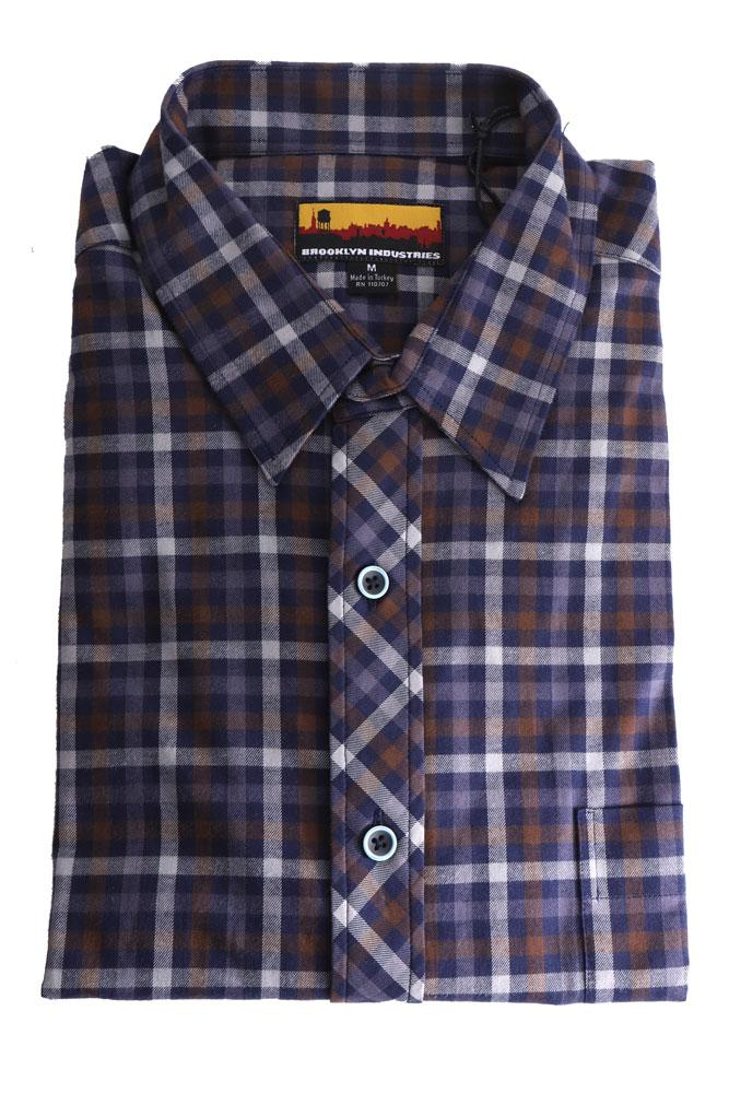 folded westerlo malibu brown and blue plaid woven shirt