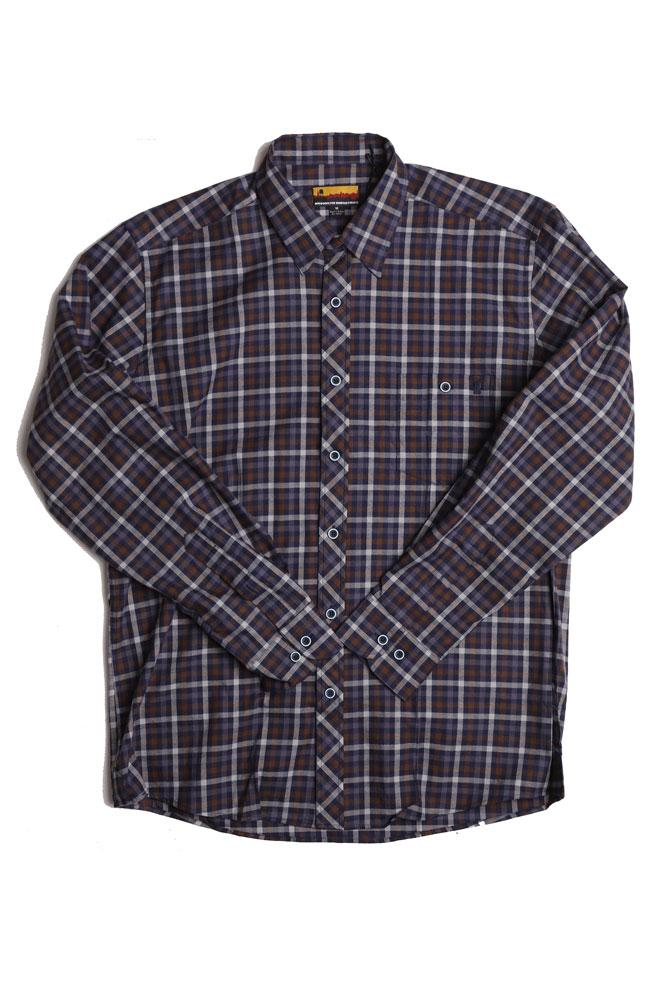 flat lay of westerlo malibu brown and blue plaid woven shirt
