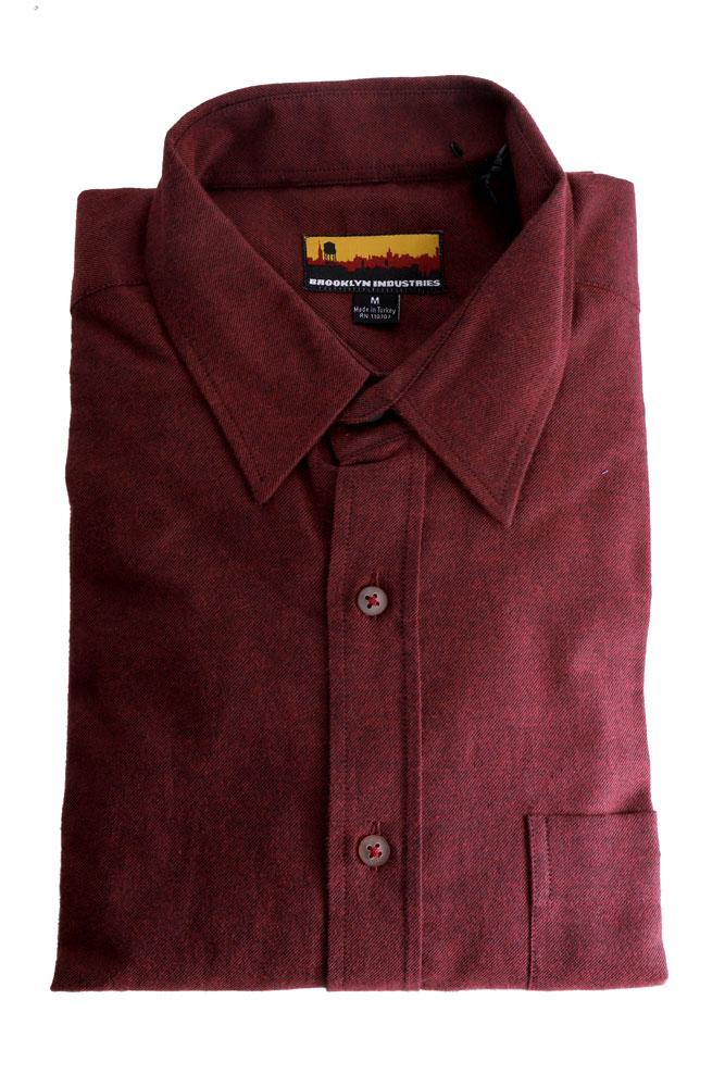 folded westerlo odessa in burgundy - men's woven long sleeve button up dress shirt