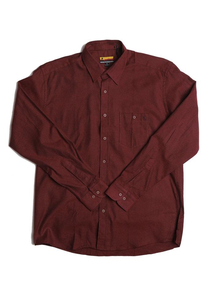 flat lay of burgundy westerlo men's woven shirt long sleeve