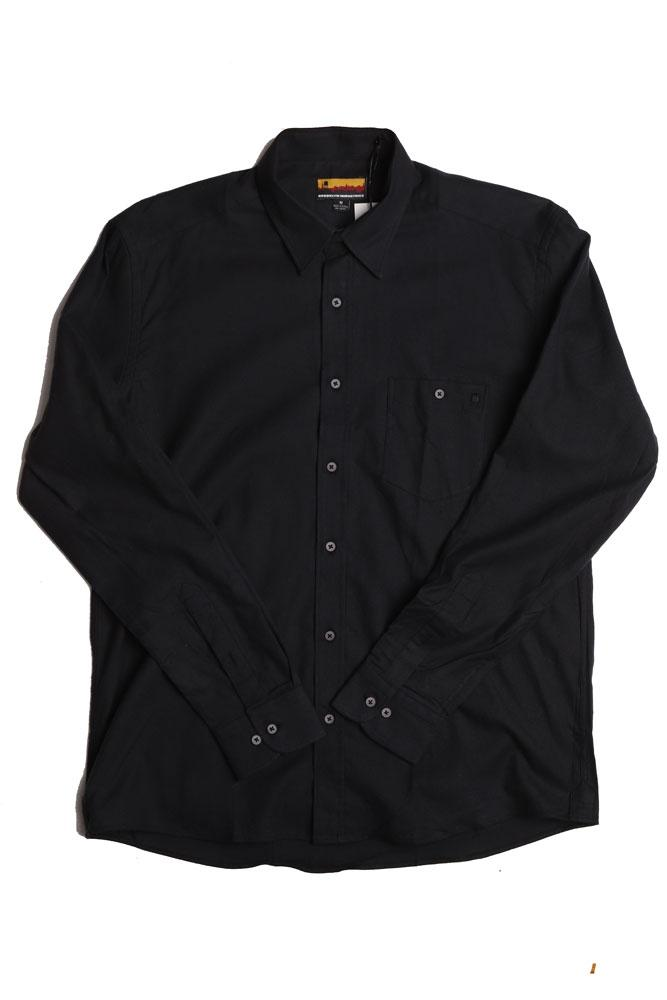 flat lay of black westerlo odessa men's woven long sleeve shirt