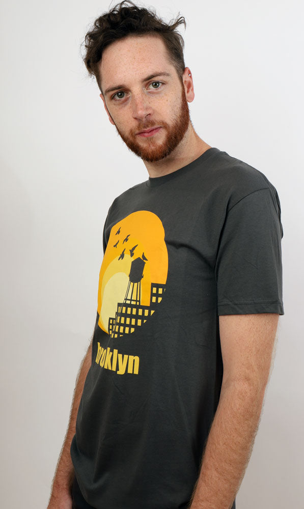 Sideways view of watertower sun tshirt