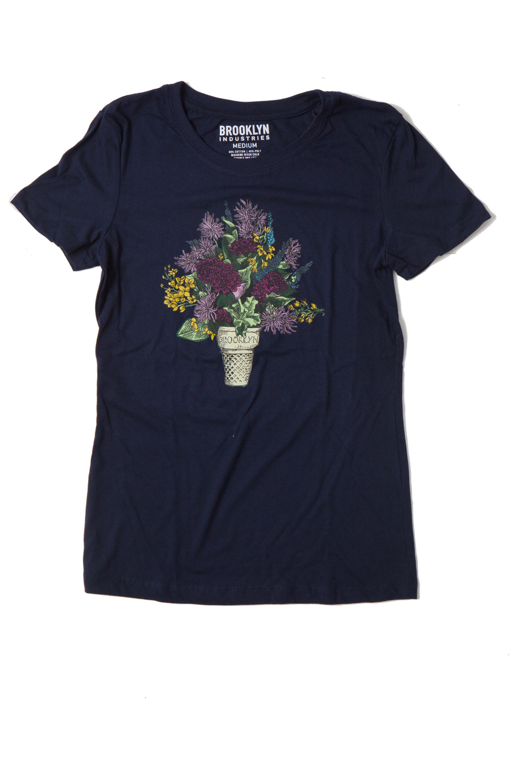FLAT LAY BLUE TSHIRT WITH A BOUQUET OF FLOWERS IN A BROOKLYN ICE CREAM CONE