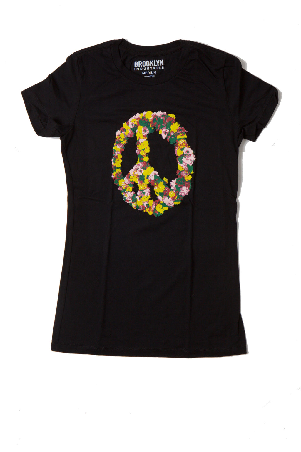 Black T-Shirt With A Colorful Floral Pattern In A Peace Sign Shape