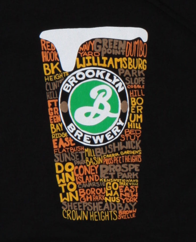 Boroughs of Brooklyn Written In Brown Hues In Shape Of A Pint Glass with Brooklyn Brewery Emblem