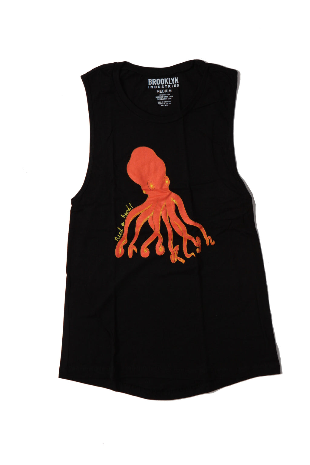 FLAT LAY OF BLACK WOMENS TANK TOP WITH ORANGE OCTOPUS GRAPHIC.