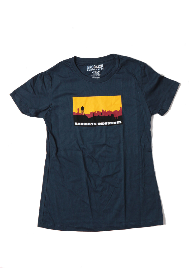 Blue Shirt With Black and Red Brooklyn industries Logo with Yellow Sky On Chest Of Shirt
