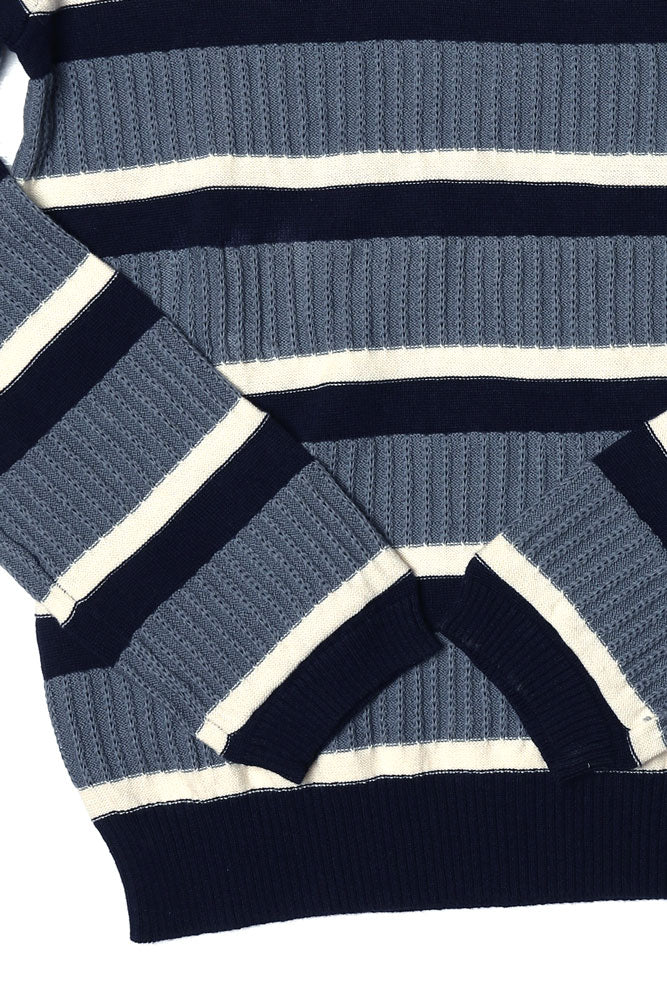 Detail of cotton sweater in blue and white stripes