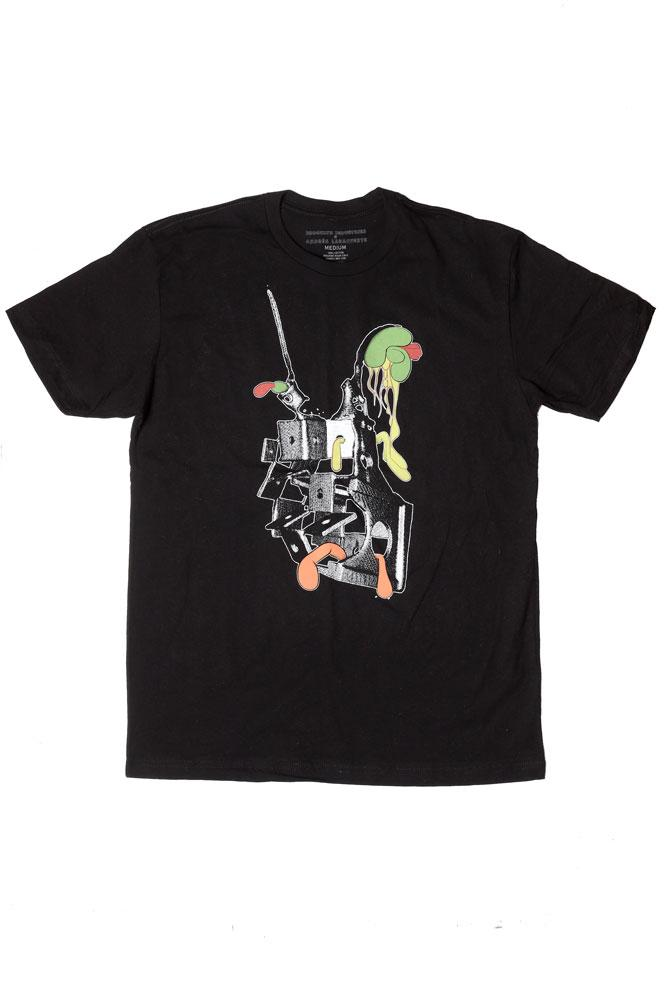 FLAT LAY 2D LIFE GRAPHIC TSHIRT BY ANDRES LARACUENTE IN BLACK