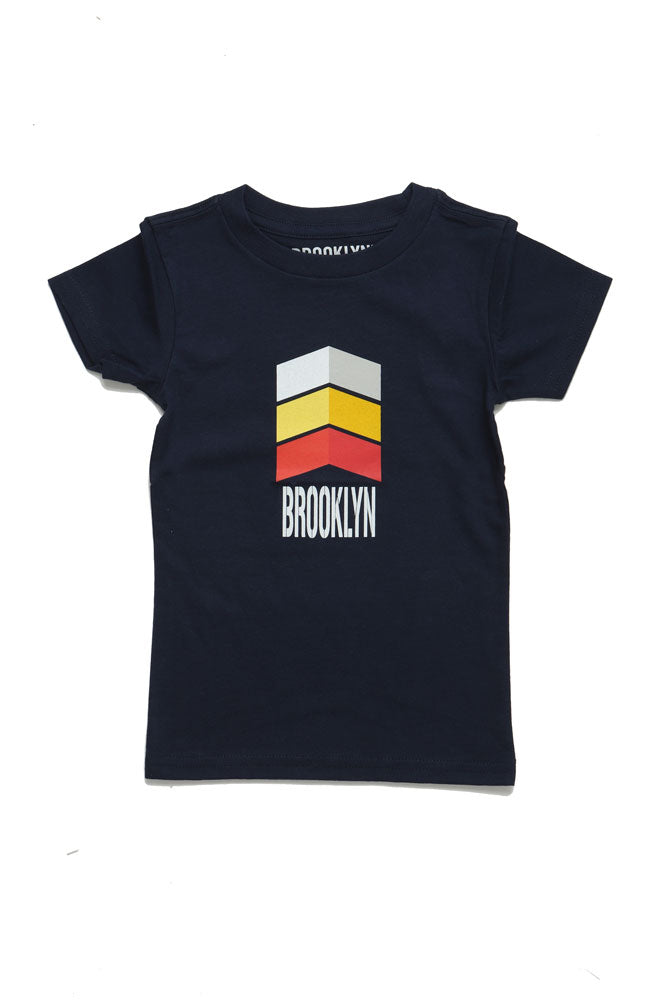 Arrow T feature the text Brooklyn in white, with a very retro arrow pattern
