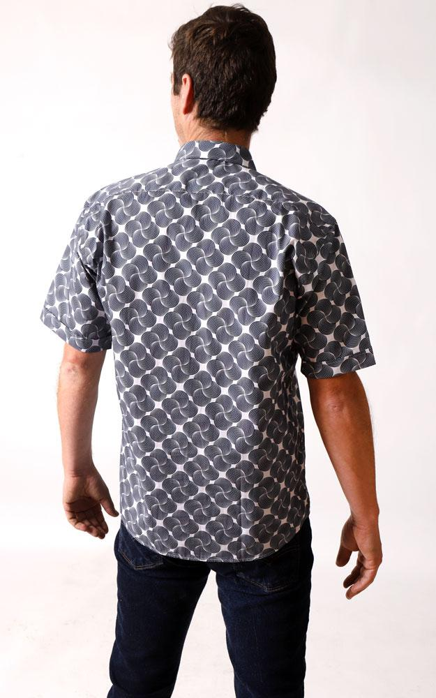 BACK VIEW OF MAN IN THE ATHENS WOVEN SHIRT