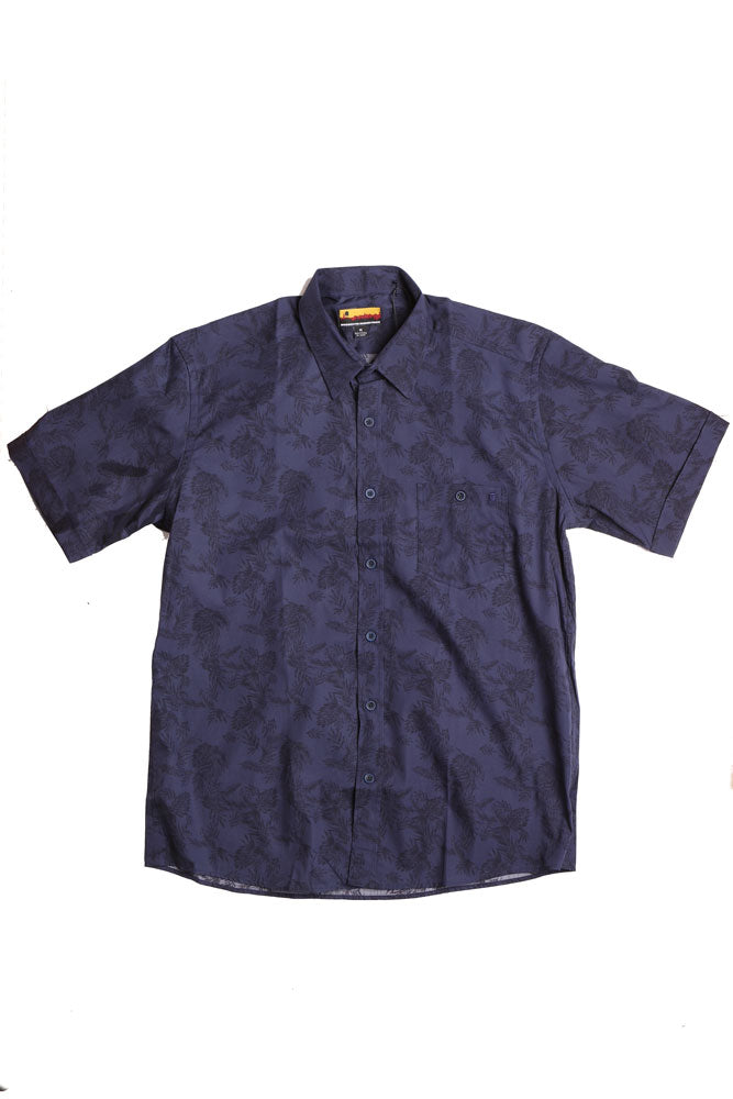flat lay  short sleeve woven shirt in blue with darker blue tropical leaves design