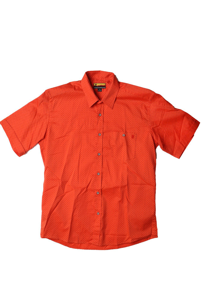 flat lay men's short sleeve woven shirt in an orange red with blue dot details
