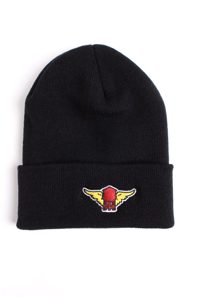 flat lay of black knit cap with red water tower with yellow wings patch