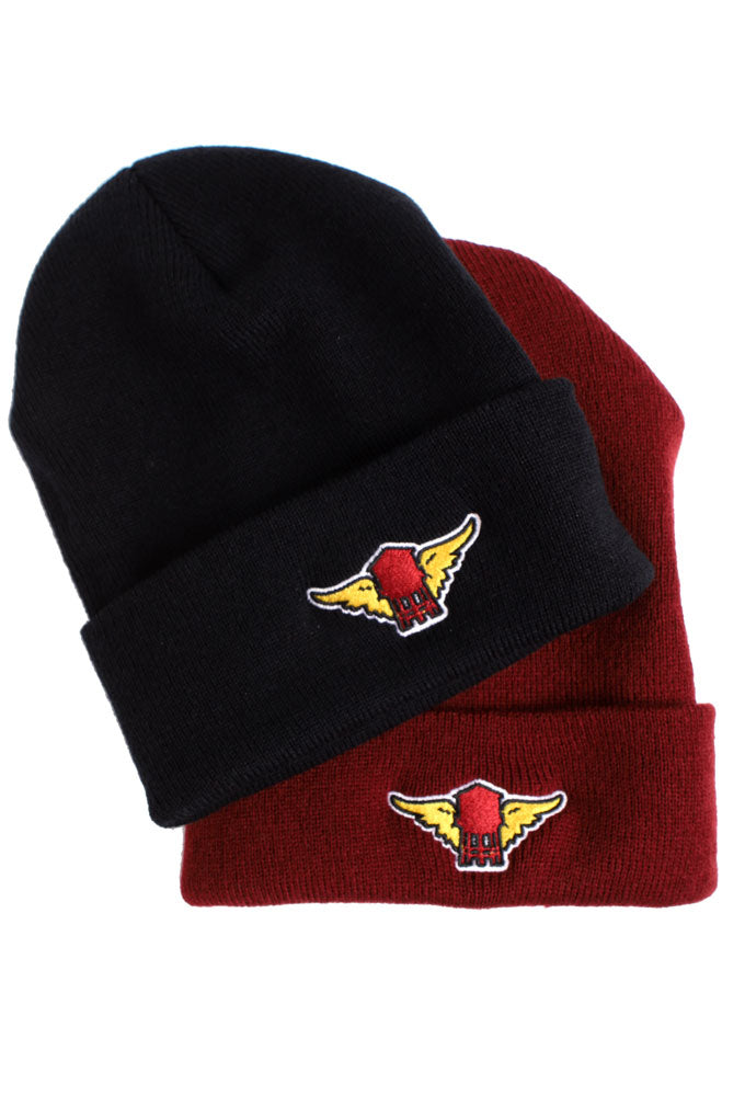 black and maroon water tower with wing embroidered beanies stack on eachother