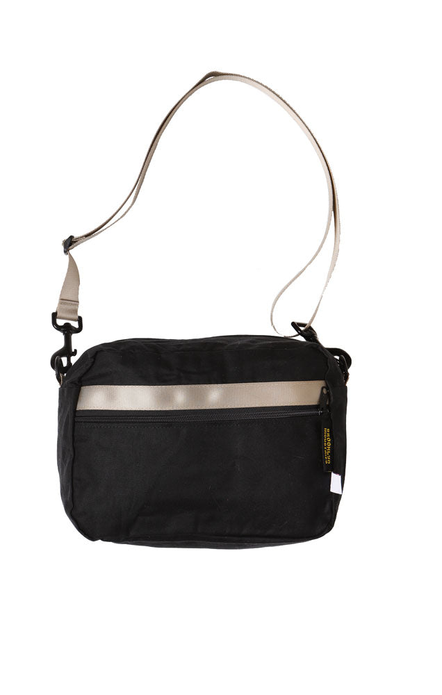 Black cross body BFF waist pack. with khaki webbing detail, and strap   Made in the USA   Made in NY