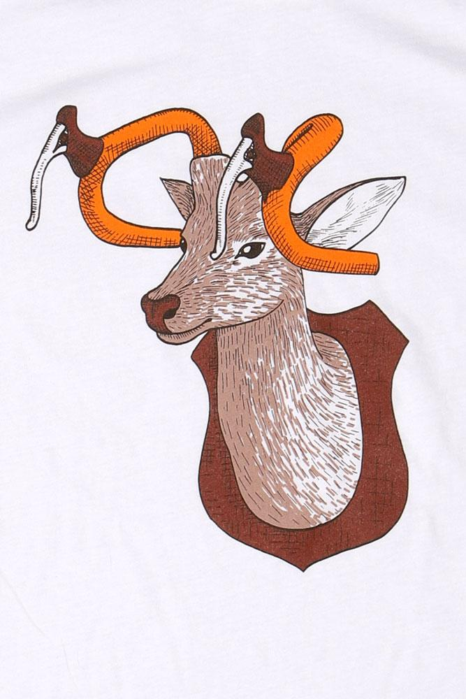 detail of flat lay white t-shirt with graphic of mounted buck deer with bike handles as the antlers