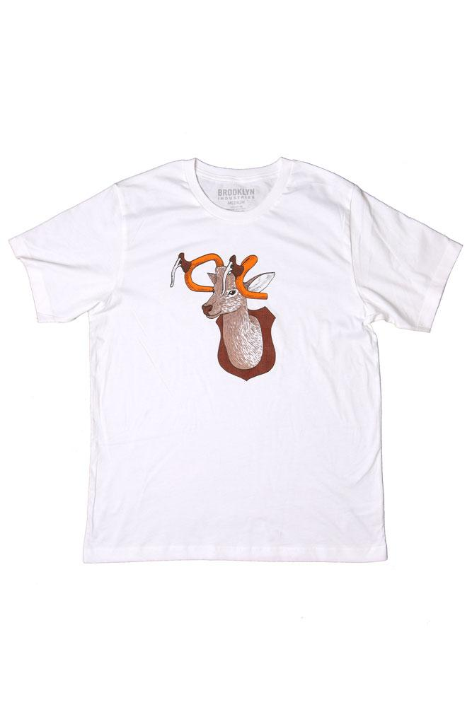flat lay white t-shirt with graphic of mounted buck deer with bike handles as the antlers