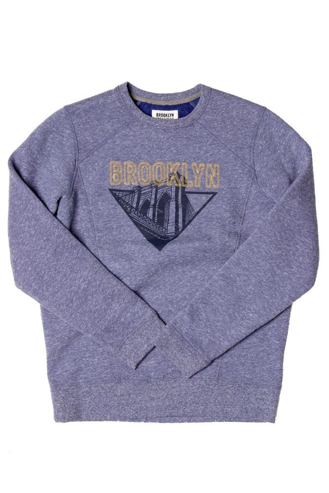 BK BRIDGE STITCH CREW SWEATSHIRT BLUE M - BROOKLYN INDUSTRIES