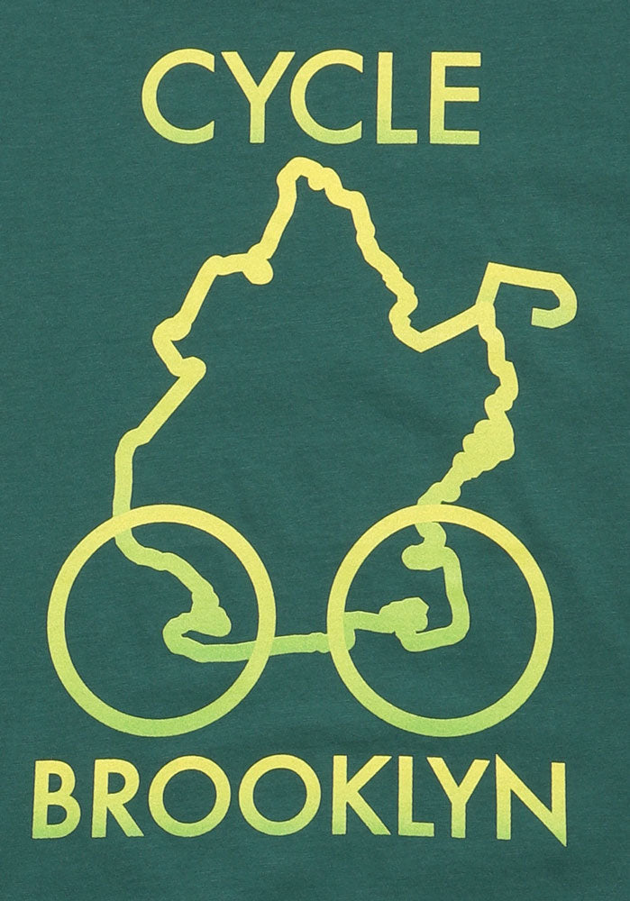 DETAIL OF GREEN TSHIRT WITH A YELLOW/GREEN DESIGN OF THE BOROUGH OF BROOKLYN WITH WHEELS, TEXT: CYCLE BROOKLYN