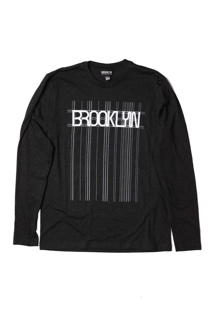 FLAT LAY OF BLACK LONG SLEEVE GRAPHIC SHIRT WITH WHITE GRAPHIC BROOKLYN ACROSS THE CHEST WITH VECTORS AND GUIDELINES ALL DOWN THE BODY OF THE SHIRT