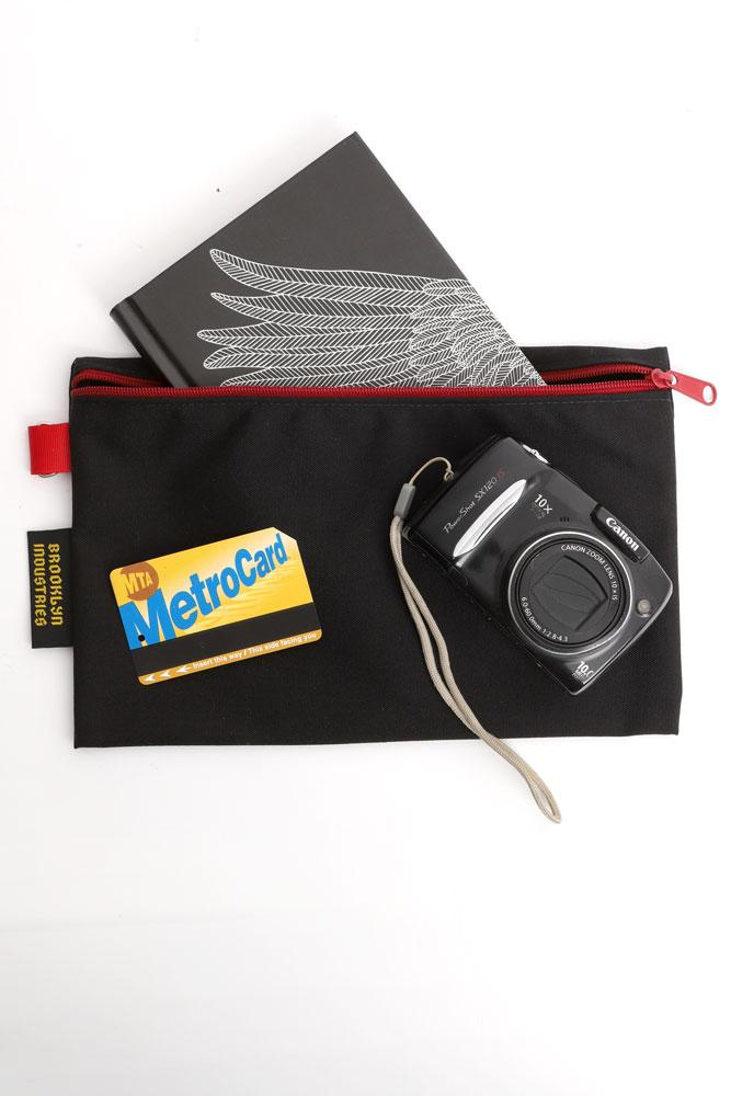 LARGE WALLET CASE, WITH NOTEBOOK, METRO CARD AND DIGITAL CAMERA FOR SCALE, IN BLACK