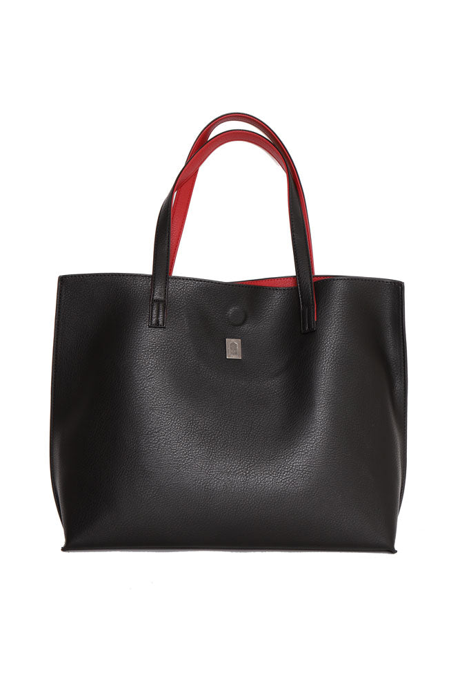 Vegan Pebble Tote bag in black with red lining