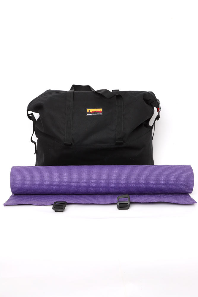 BLACK WAXED CANVAS MADE IN NY YOGA TOTE WITH PURPLE MAT, UNDONE