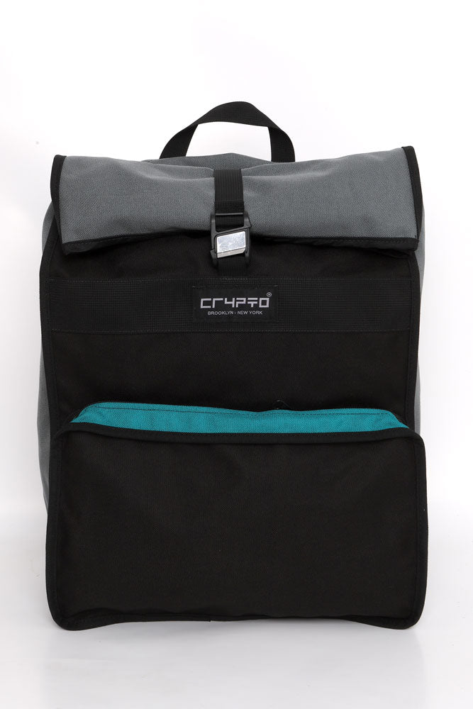 CRYPTO RADAR BACK PACK WITH FRONT POCKET AND ROLL TOP, IN BLACK WITH GREY AND TEAL DETAILS