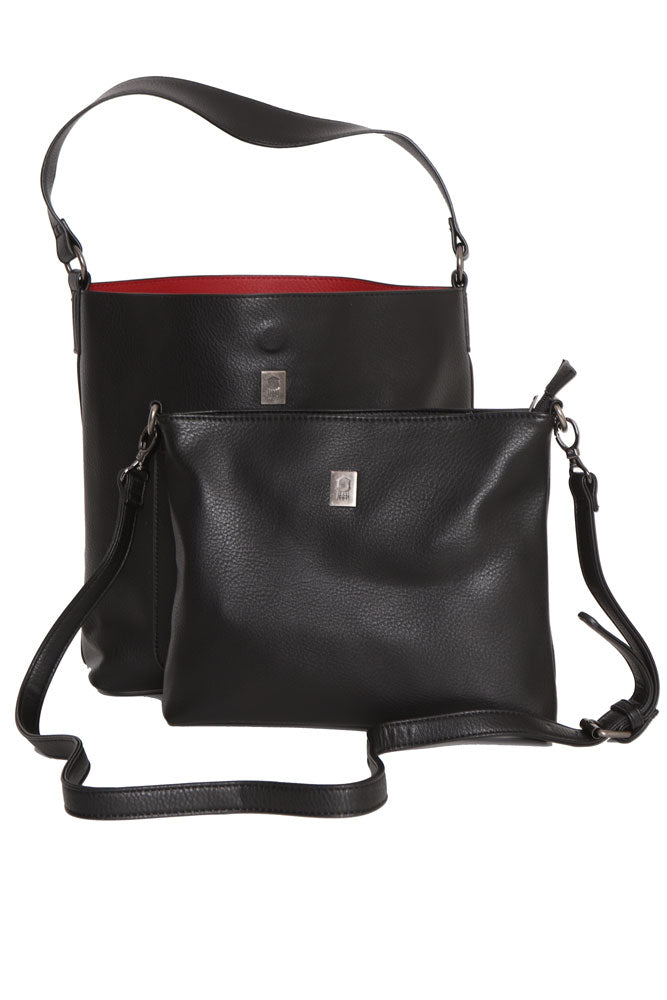 Black vegan hobo style two piece bag. The large bag is lined in a red color. The small big fits inside.
